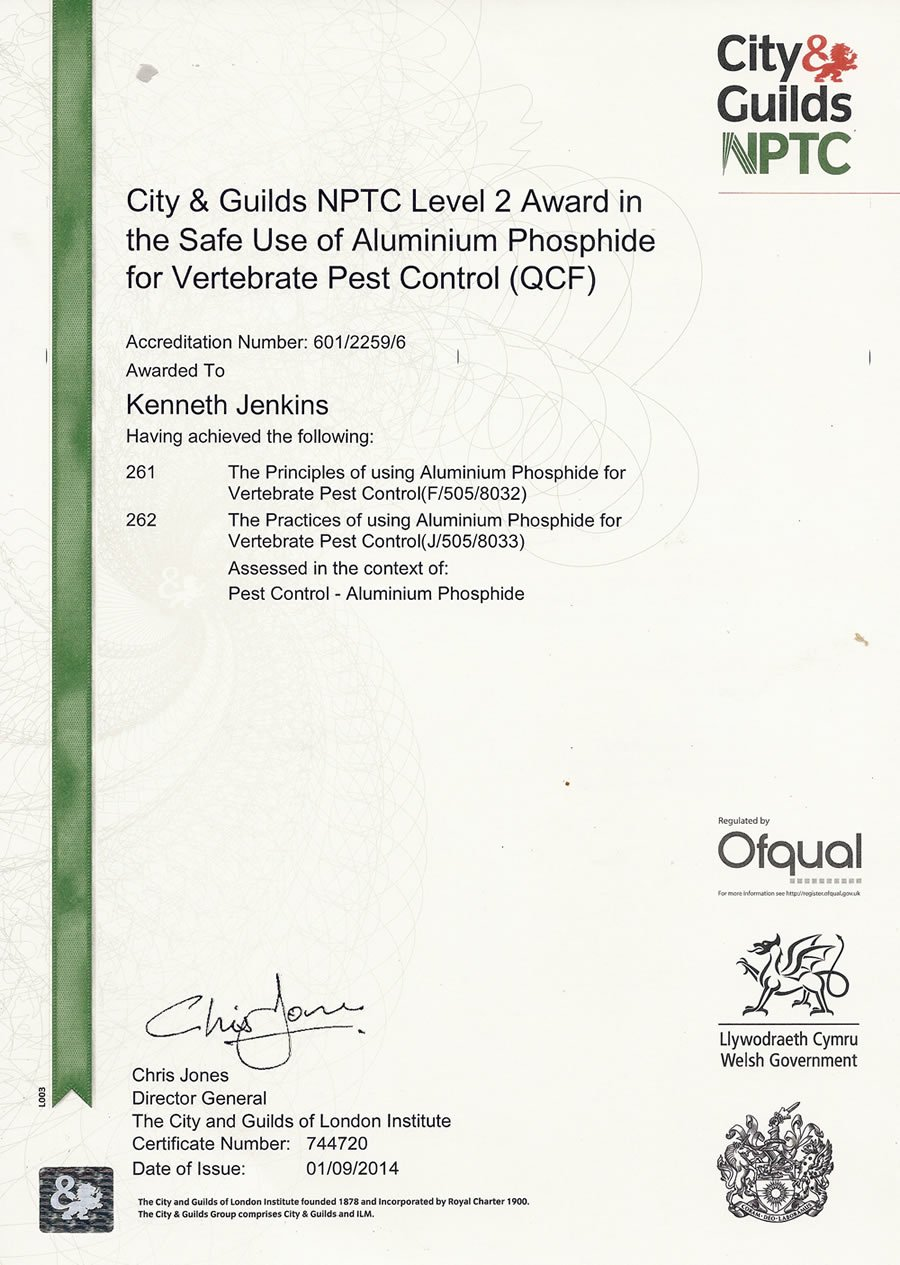 City & Guilds NPTC Level 2 Award in the Safe Use of Aluminium Phosphide for Vertebrate Pest Control