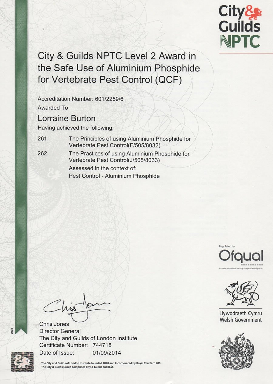 City & Guilds NPTC Level 2 Award in the Safe Use of Aluminium Phosphide for Vertebrate Pest Control (QCF)