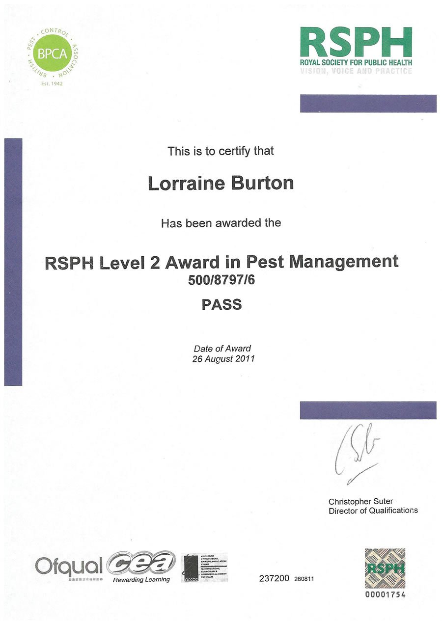RSPH Level 2 Award in Pest Management