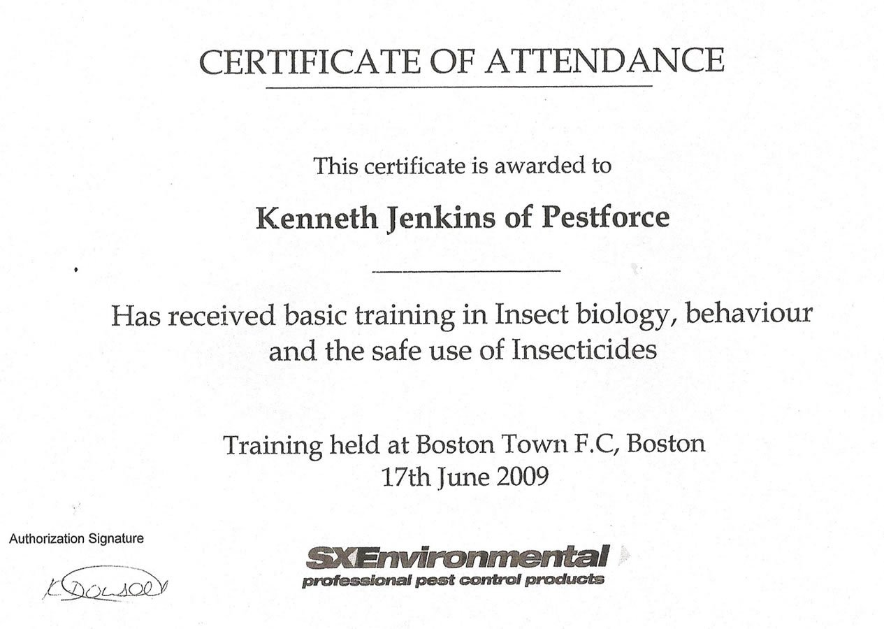 Training in Insect biology, behaviour and the safe use of insecticides